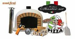 Brick outdoor wood fired Pizza oven 80cm white Deluxe black door (package deal)