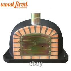 Brick outdoor wood fired Pizza oven 80cm x 80cm Deluxe extra model black
