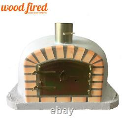 Brick outdoor wood fired Pizza oven 80cm x 80cm Deluxe extra model light grey