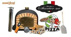 Brick outdoor wood fired Pizza oven 90cm Black Deluxe model (package deal)