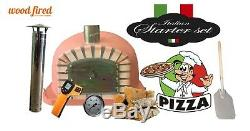 Brick outdoor wood fired Pizza oven 90cm Deluxe extra model terracotta package