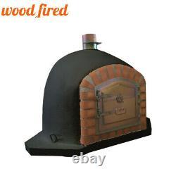 Brick outdoor wood fired Pizza oven 90cm black corner Deluxe model