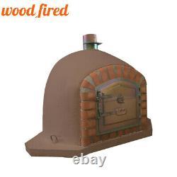 Brick outdoor wood fired Pizza oven 90cm brown corner Deluxe model