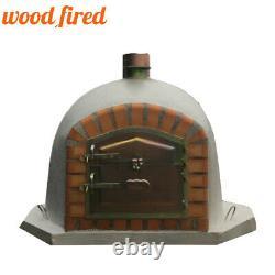 Brick outdoor wood fired Pizza oven 90cm grey corner Deluxe model