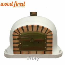 Brick outdoor wood fired Pizza oven 90cm white Deluxe model with matching stand