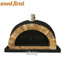 Brick outdoor wood fired Pizza oven black 100cm Pro italian rock face package