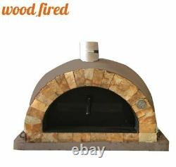 Brick outdoor wood fired Pizza oven brown 100cm Pro italian rock face package