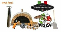 Brick outdoor wood fired Pizza oven grey 100cm Pro italian rock face package