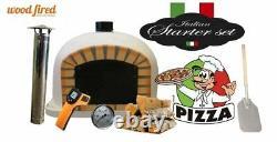 Brick outdoor wood fired Pizza oven grey 70cm Deluxe model black door (package)
