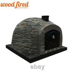 Brick outdoor wood fired Pizza oven prestige stone 100cm grey arch / black door