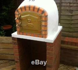 Brick wood outdoor fired Pizza oven 80cm white Deluxe model Wooden- BBQ-Quality
