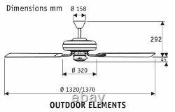 Ceiling fan IPX4 Hunter 24324 Outdoor Elements WB brick / solid teak