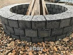 Dark gray fire pit granite slab fire place DIY Garden Patio bricks Terrace