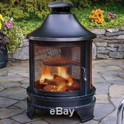 Large BBQ Cooking Grill Log Burner Garden Fire Pit Outdoor Patio Heater Metal