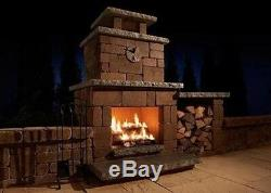 Outdoor Fire Place Kit Designer Custom Bricks Wood Box Limestone Top