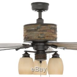 Outdoor/Indoor 52 Unique Brick Ceiling Fan Driftwood Cabin Patio Branch Light