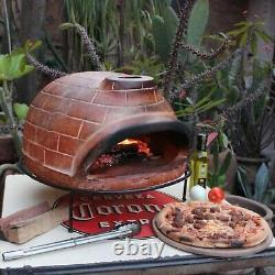 Outdoor Pizza Oven Oval Red Brick Wood Fired Terracotta for Home Garden NEW