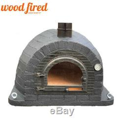 Outdoor wood fired Pizza oven 100cm Prestige black brick, cast iron door
