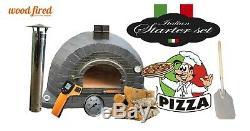 Outdoor wood fired Pizza oven 100cm Prestige black brick, cast iron door pacakage