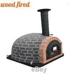Outdoor wood fired Pizza oven 100cm Prestige grey brick, cast iron door