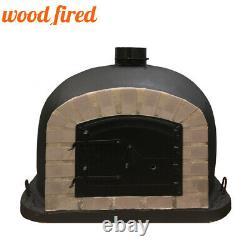 Outdoor wood fired Pizza oven 100cm black Deluxe grey-brick/black-door