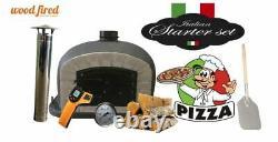 Outdoor wood fired Pizza oven 100cm black Deluxe grey-brick/black-door (package)