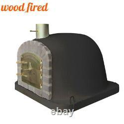 Outdoor wood fired Pizza oven 100cm black deluxe extra grey brick/gold door