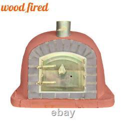 Outdoor wood fired Pizza oven 100cm brick red deluxe extra grey brick/gold door