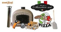 Outdoor wood fired Pizza oven 100cm brown Deluxe grey-brick/black-door (package)