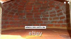 Outdoor wood fired Pizza oven 100cm brown deluxe extra grey brick/gold door