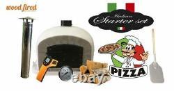Outdoor wood fired Pizza oven 100cm grey Deluxe grey-brick/black-door (package)