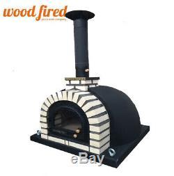 Outdoor wood fired Pizza oven 100cm pro deluxe black brick, cast iron door