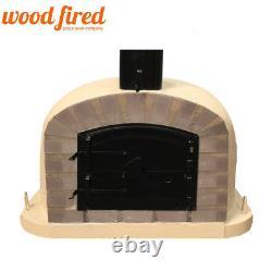 Outdoor wood fired Pizza oven 100cm sand Deluxe extra grey-brick/black-door
