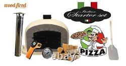 Outdoor wood fired Pizza oven 100cm sand Deluxe grey-brick/black-door (package)