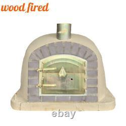 Outdoor wood fired Pizza oven 100cm sand deluxe extra grey brick/gold door