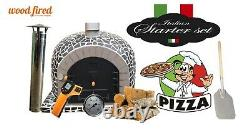 Outdoor wood fired Pizza oven 100cm superior black mosaic grey brick (package)