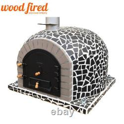Outdoor wood fired Pizza oven 100cm superior model black mosaic with grey brick