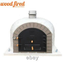 Outdoor wood fired Pizza oven 100cm superior model white mosaic with grey brick