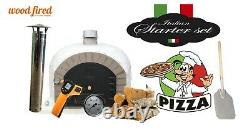 Outdoor wood fired Pizza oven 100cm superior white mosaic grey brick (package)