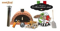 Outdoor wood fired Pizza oven 100cm terracotta Pro-Italian orange brick package