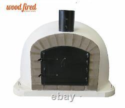 Outdoor wood fired Pizza oven 100cm white Deluxe extra grey-brick/black-door