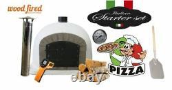 Outdoor wood fired Pizza oven 100cm white Deluxe grey-brick/black-door (package)