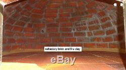 Outdoor wood fired Pizza oven 100cm white Deluxe model grey-brick/black-door