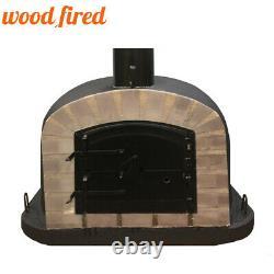 Outdoor wood fired Pizza oven 70cm black Deluxe extra grey-brick/black-door