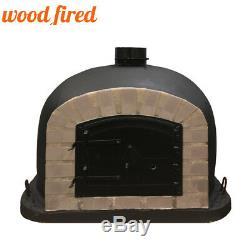 Outdoor wood fired Pizza oven 70cm black Deluxe grey-brick/black-door