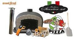 Outdoor wood fired Pizza oven 70cm black Deluxe grey-brick/black-door (package)