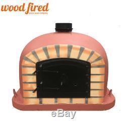 Outdoor wood fired Pizza oven 70cm brick red Deluxe model black Door