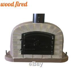 Outdoor wood fired Pizza oven 70cm brown Deluxe extra grey-brick/black-door
