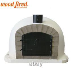 Outdoor wood fired Pizza oven 70cm white Deluxe extra grey-brick/black-door