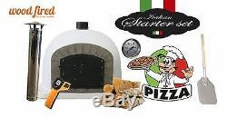 Outdoor wood fired Pizza oven 70cm white Deluxe grey-brick/black-door (package)